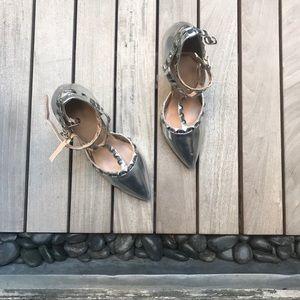 Wild Diva | Silver Studded Strappy Stilettos